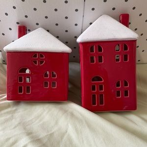 Red & White Village Homes Christmas Decoration